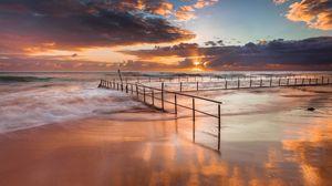 Preview wallpaper australia, coast, ocean, sand, protection, waves