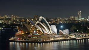 Preview wallpaper australia, evening, opera, theater, river, landmark