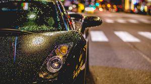 Preview wallpaper auto, front view, rain, drops