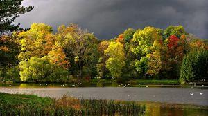 Preview wallpaper autumn, clouds, pond, seagulls, landscape