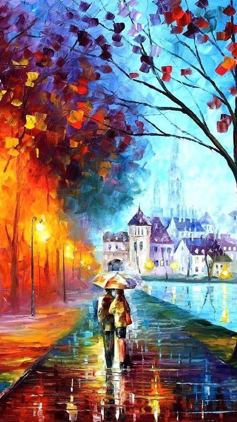 480x854 Wallpaper autumn, drawing, walking