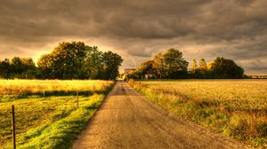 Preview wallpaper autumn, field, road, landscape