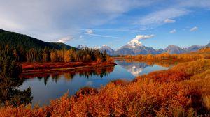 Preview wallpaper autumn, river, sky, nature