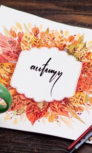 Preview wallpaper autumn, word, lettering, art