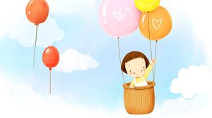Preview wallpaper baby, balloons, flying, sky, clouds