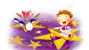 Preview wallpaper baby, boy, drawing, guitar, drums, music
