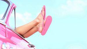 Preview wallpaper baby, feet, flip flops, car