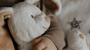 Preview wallpaper baby, hand, toy, rabbit