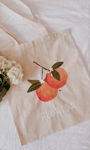 Preview wallpaper bag, peaches, inscription, flowers, design