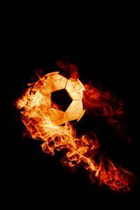 Preview wallpaper ball, fire, football, dark background, flame