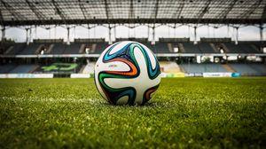 Preview wallpaper ball, football, lawn, stadium