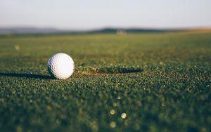 Preview wallpaper golf, ball, hole, lawn