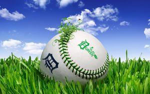 Preview wallpaper ball, grass, lawn, clouds
