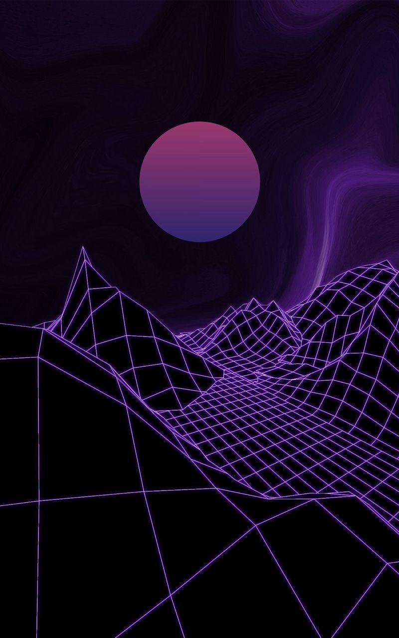 800x1280 Wallpaper ball, mesh, relief, purple