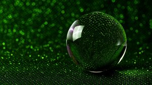 Preview wallpaper ball, mirror, green, sparkles, bokeh, reflection