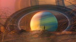 Preview wallpaper ball, planet, silhouette, alien, fantastic