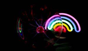 Preview wallpaper ball, plasma, electricity, rainbow, neon, dark