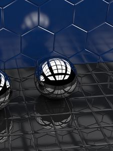 Preview wallpaper ball, shapes, metal, reflection, volume, glare, 3d