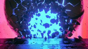 Preview wallpaper ball, shards, glow, bright, fragments