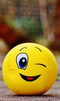 240x400 Wallpaper ball, smile, happy, toy