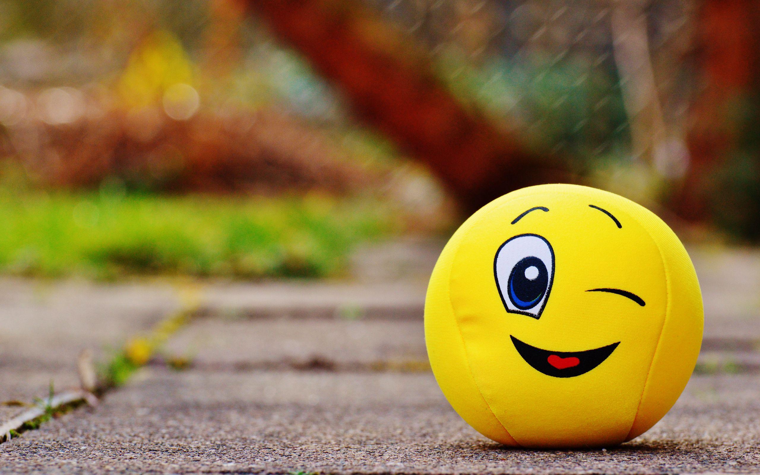 2560x1600 Wallpaper ball, smile, happy, toy