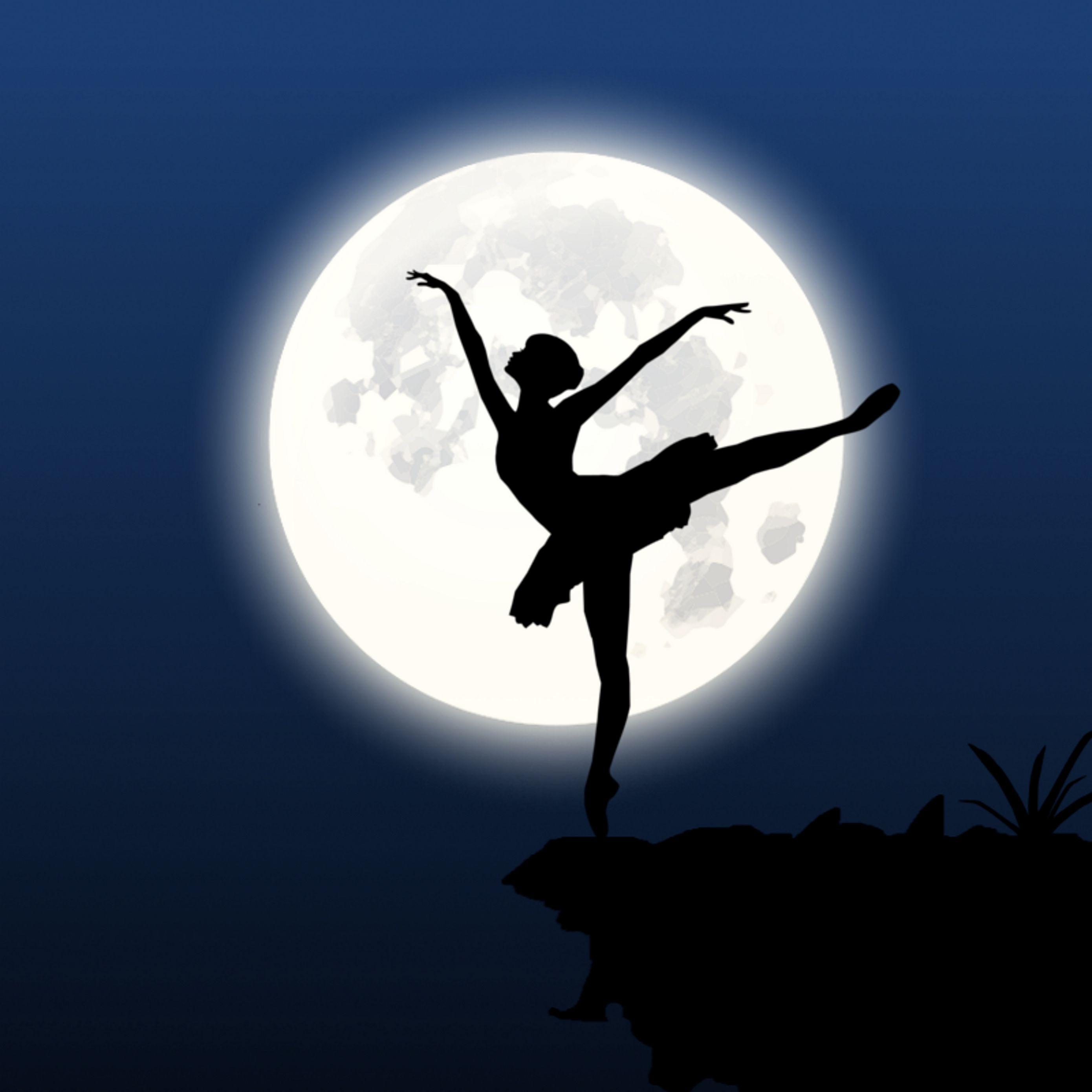 2780x2780 Wallpaper ballerina, silhouette, moon, dance