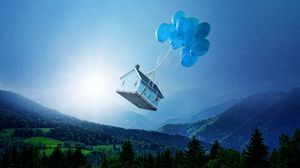 Preview wallpaper balloons, house, flight, fantasy, forest