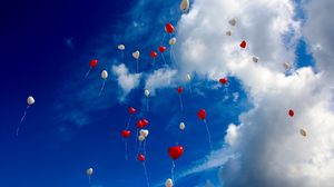 Preview wallpaper balloons, sky, clouds, hearts, love
