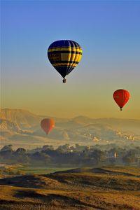 Preview wallpaper balloons, sky, hills