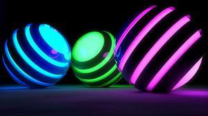 Preview wallpaper balls, bands, glow, bright