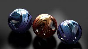 Preview wallpaper balls, glass, metal, sleek, form