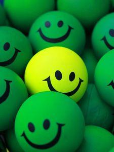 Preview wallpaper balls, smile, green, yellow