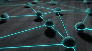 Preview wallpaper balls, spheres, 3d, lines, network, glow