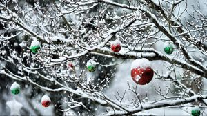 Preview wallpaper balls, twigs, new year, snow