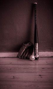 Preview wallpaper baseball, bat, glove, inventory, sport