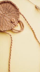 Preview wallpaper basket, bag, wicker, aesthetics, brown