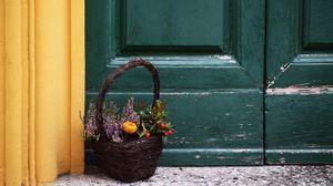Preview wallpaper basket, bouquet, flowers, composition, decoration