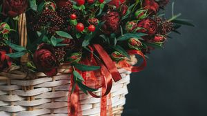 Preview wallpaper basket, bouquet, flowers, branches, berries