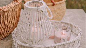 Preview wallpaper basket, candles, jar, wooden, wicker