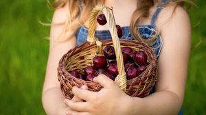 Preview wallpaper basket, cherries, berries, hands