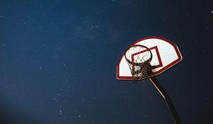 Preview wallpaper basketball, basketball backboard, net, night, stars