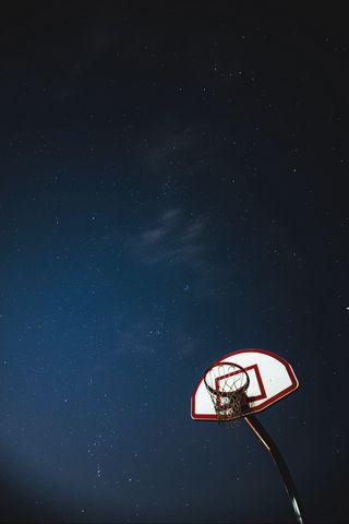 320x480 Wallpaper basketball, basketball backboard, net, night, stars