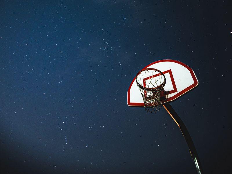 800x600 Wallpaper basketball, basketball backboard, net, night, stars