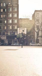 Preview wallpaper basketball, basketball court, wall, building