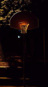 Preview wallpaper basketball, basketball hoop, basketball net, shadows, night