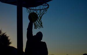 Preview wallpaper basketball, basketball hoop, basketball player, ball, jump, silhouettes, dark