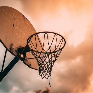 Preview wallpaper basketball, basketball net, basketball hoop, backboard, sky
