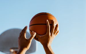 Preview wallpaper basketball, basketball player, ball, throw