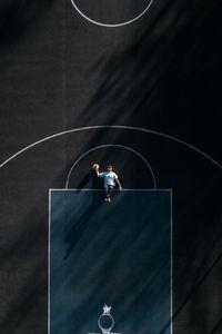 Preview wallpaper basketball court, man, aerial view, marking, basketball
