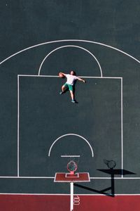 Preview wallpaper basketball court, player, aerial view, basketball, playground